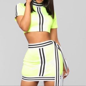 Neon yellow black 2 piece skirt set